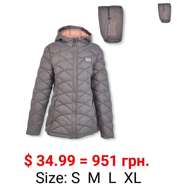 Reebok Girls' Packable Puffer Hooded Jacket