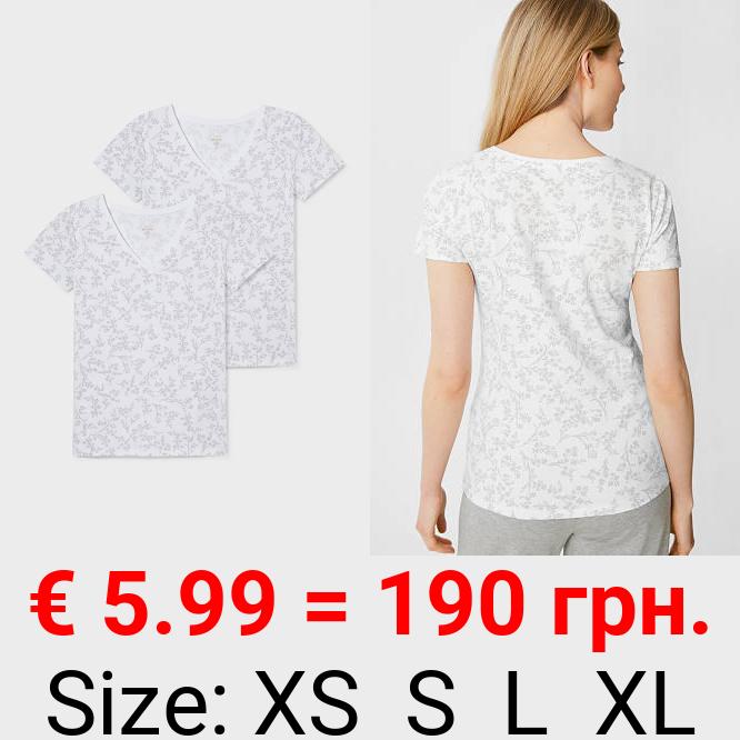 Multipack 2er - Basic-T-Shirt - Bio-Baumwolle - geblümt