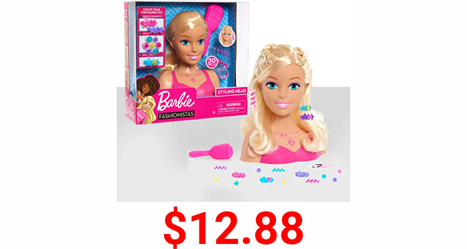 Barbie Fashionistas 8-Inch Styling Head, Blonde, 20 Pieces Include Styling Accessories, Hair Styling for Kids by Just Play