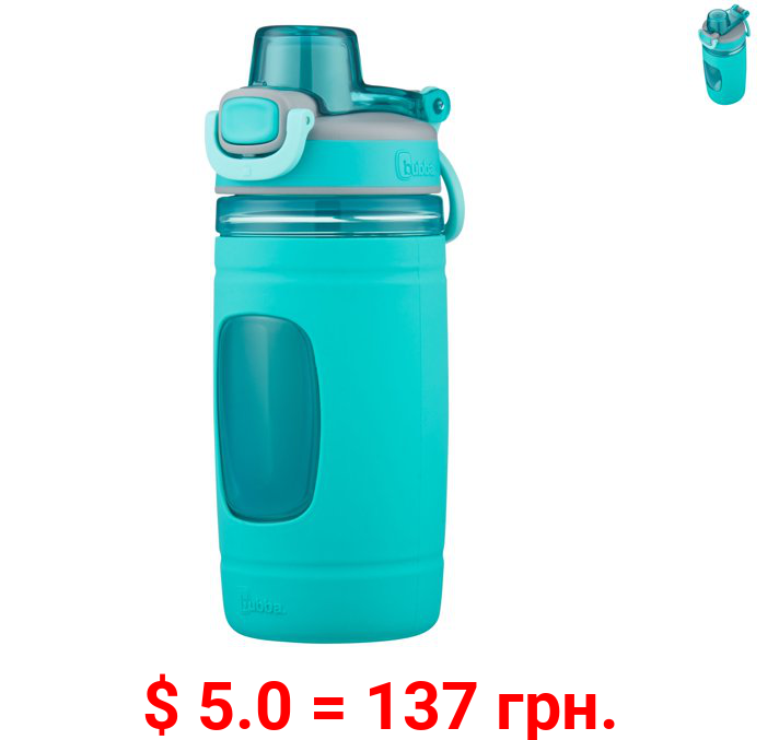 Bubba Kids Flo BPA-free Water Bottle with Silicone Sleeve Wide Mouth, 16 Oz, Aqua