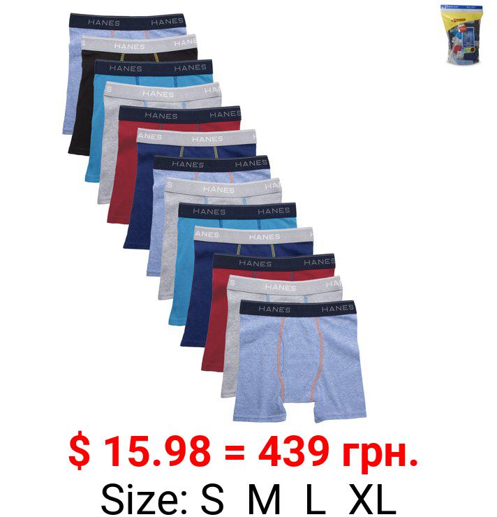 Hanes Boys Underwear, 10 + 3 Bonus Pack Tagless Boys' Cool Comfort Boxer Briefs Sizes S - XL