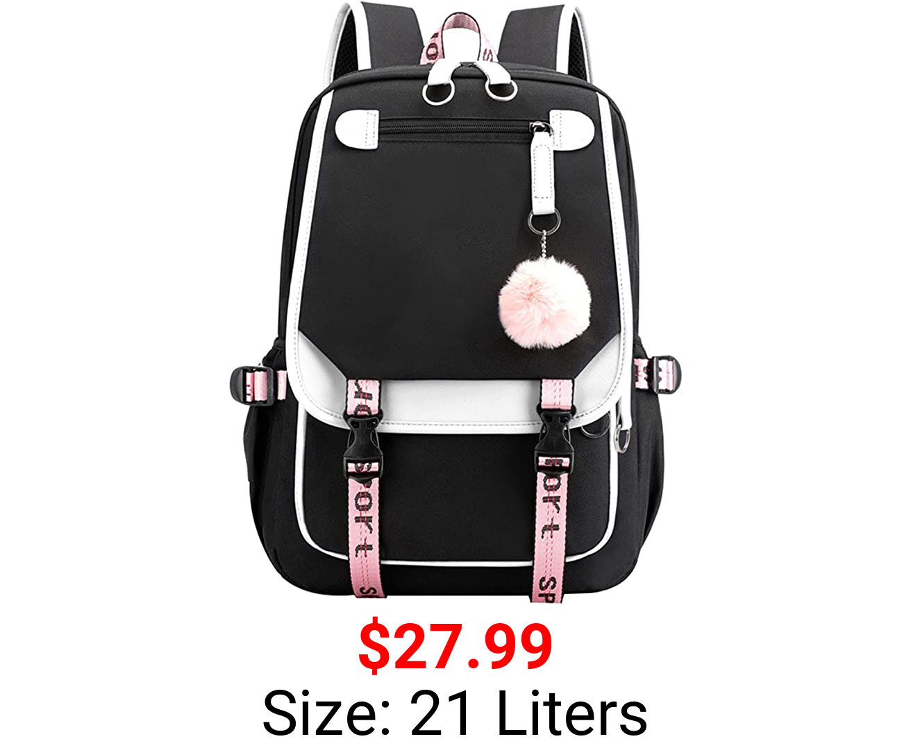 Teenage Girls' Backpack Middle School Students Bookbag Outdoor Daypack with USB Charge Port (4# White Black,21 Liters)