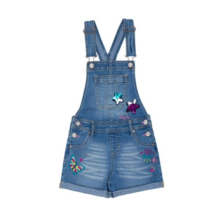 Jordache Rolled Cuff Embellished Overall Short (Little Girls & Big Girls)