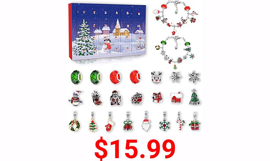 KITEOAGE Girls Advent Calendar 2021 Charm Bracelets Making Kit for Kids Christmas Countdown Calendars