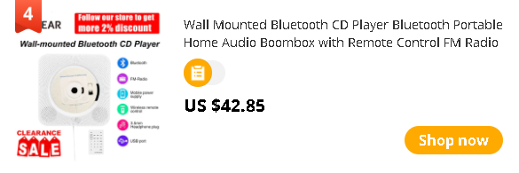 Wall Mounted Bluetooth CD Player Bluetooth Portable Home Audio Boombox with Remote Control FM Radio MP3 USB