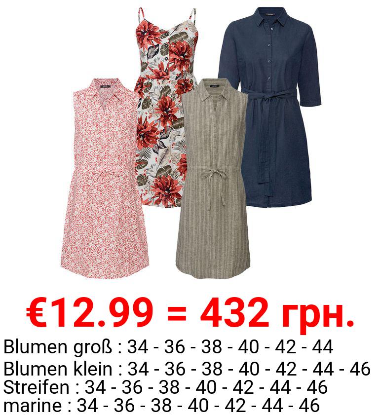 ESMARA® Kleid Damen, luftig leichte Qualität