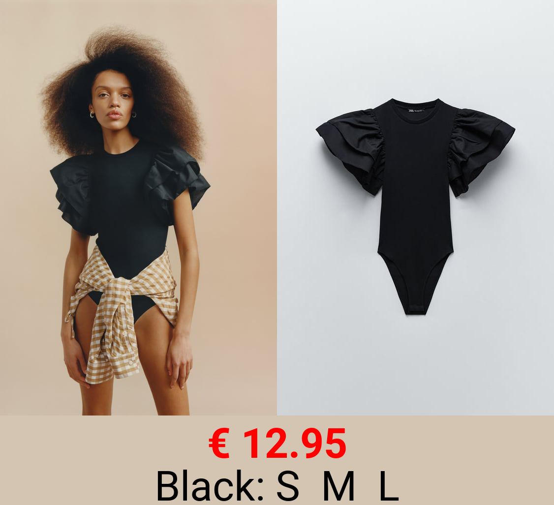 CONTRAST BODYSUIT WITH RUFFLES