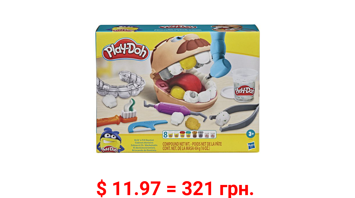 Play-Doh Drill 'n Fill Dentist, Includes 8 Cans of Compound, 16 Ounces Play-Doh