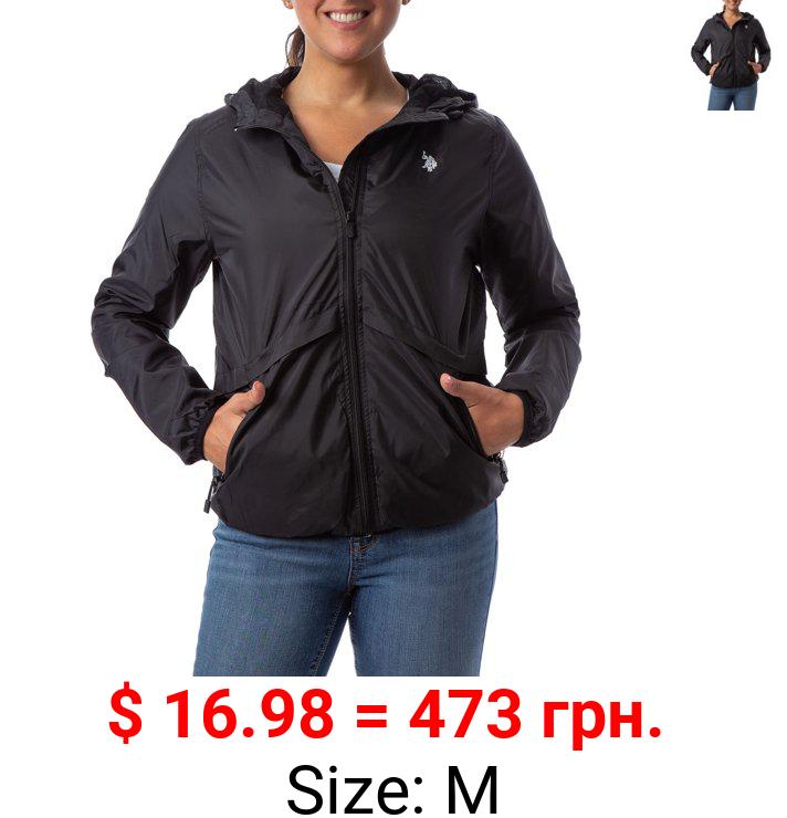 US Polo Assn. Women's Essential Hooded Rain Jacket Windbreaker