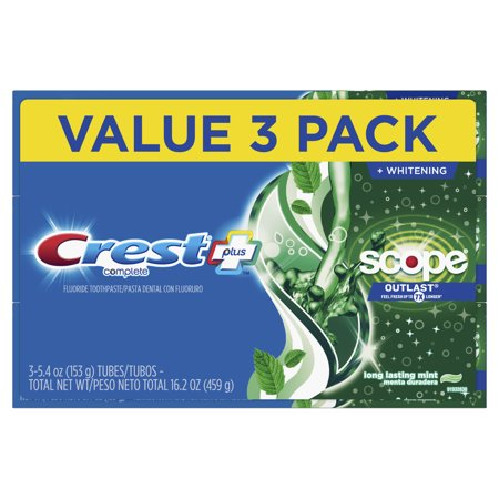 Crest Plus Scope Outlast Complete Whitening Toothpaste, 5.4 oz 3 Pack