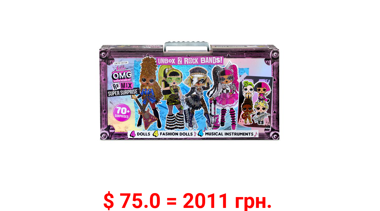 LOL Surprise OMG Remix Super Surprise with 70+ Surprises Including 4 Fashion Dolls And 4 Dolls (Sisters), Rock Instruments That Really Play Music, Boom Box Packaging, Rock Band Accessories Ages 4+