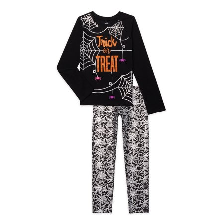 Halloween Girls Graphic Top and Leggings Outfit Set, 2-Piece, Sizes 4-18