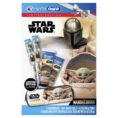 Crest & Oral-B Kids Star Wars The Mandalorian 2 Manual Toothbrushes and 2 4.2 oz Stand-up Tube Toothpaste