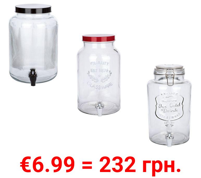 ERNESTO® Getränkespender aus Glas, mit Deckel