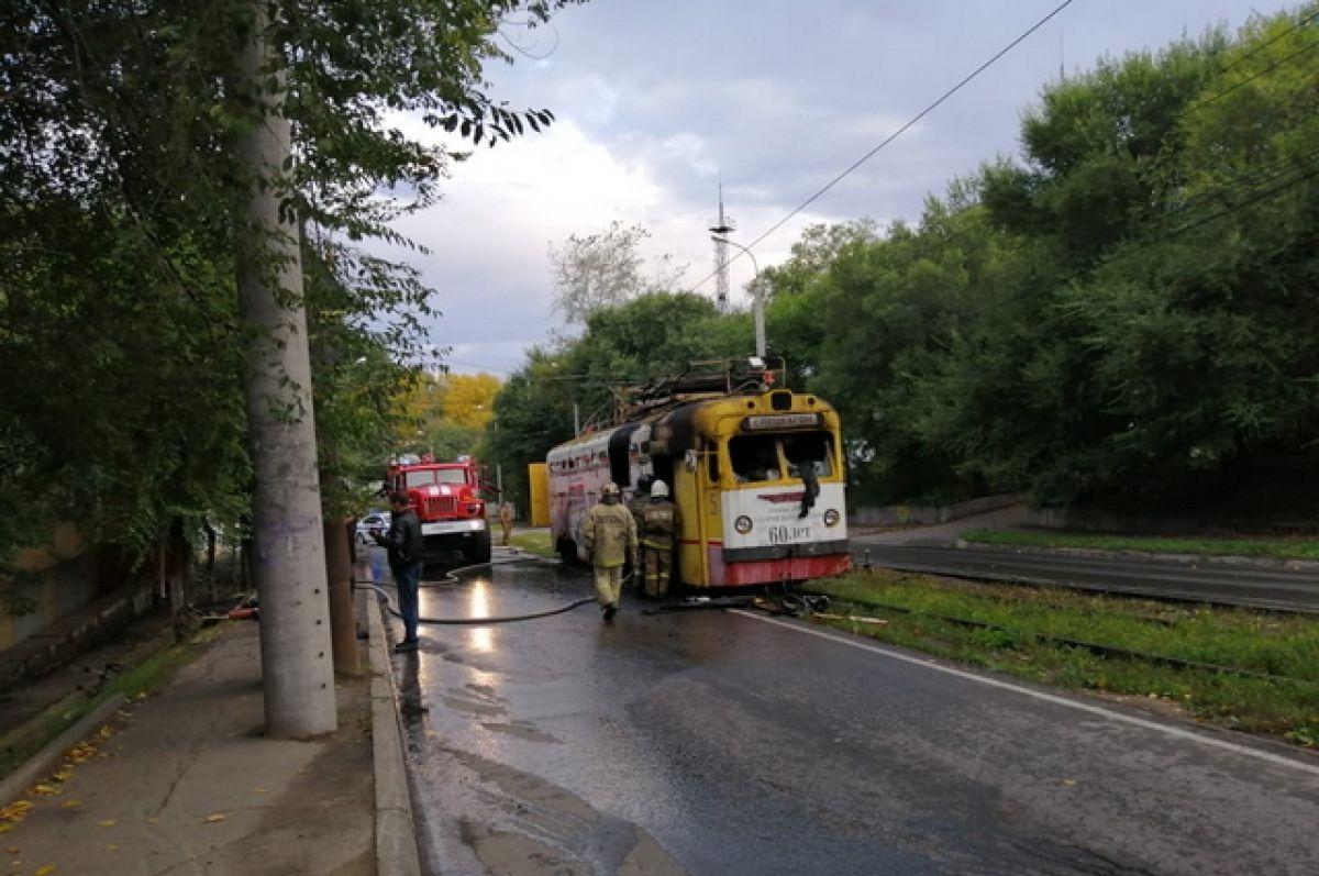 В Кировском районе Хабаровска сгорел трамвай