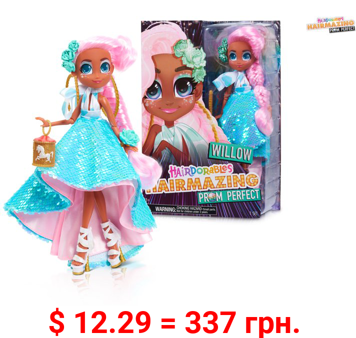 Hairdorables Hairmazing Prom Perfect Fashion Dolls, Willow, Pink and Green Hair