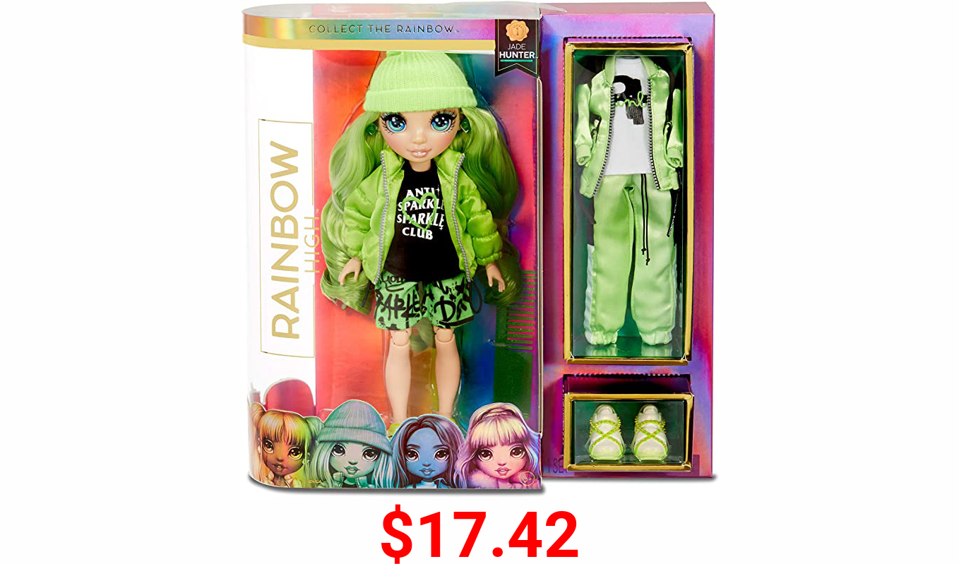 Rainbow High Rainbow Surprise Jade Hunter - Green Clothes Fashion Doll with 2 Complete Mix & Match Outfits and Accessories, Toys for Kids 4 to 15 Years Old