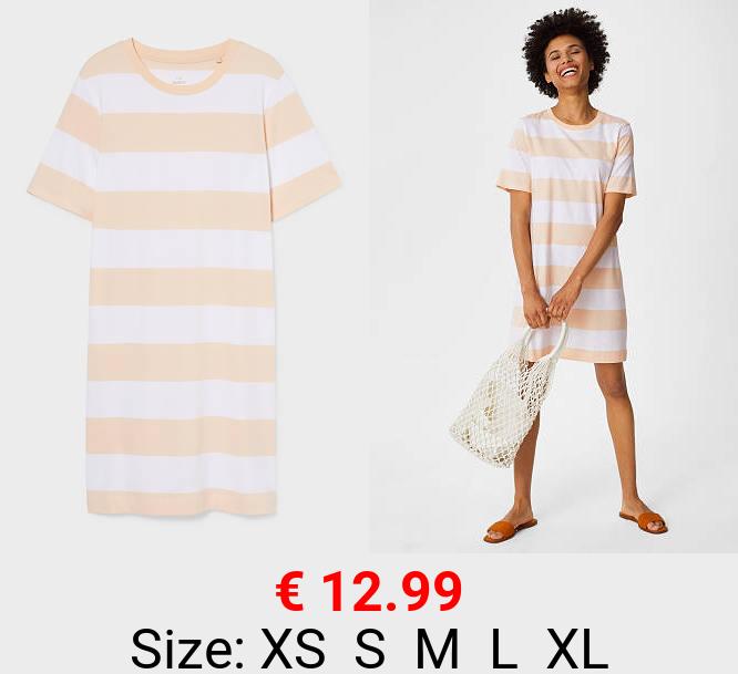 Basic-T-Shirt-Kleid - Bio-Baumwolle - gestreift