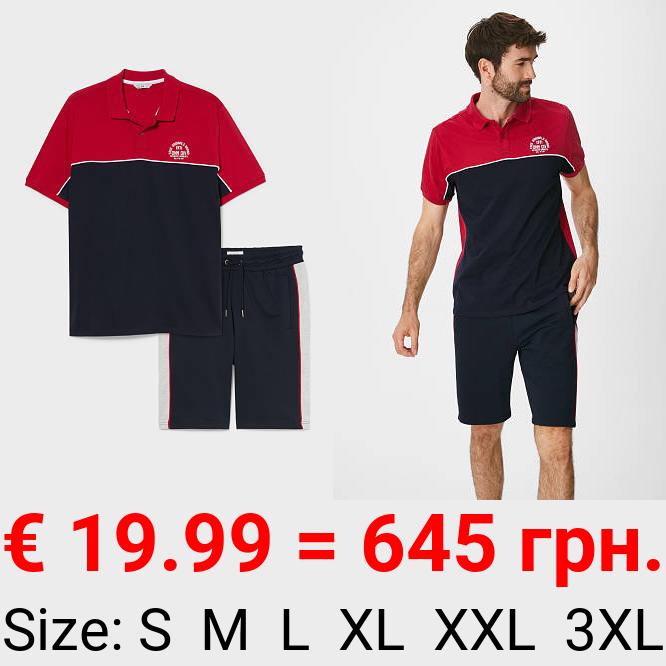 Set - Poloshirt und Sweatshorts - 2 teilig