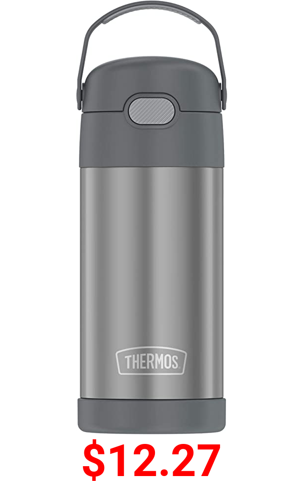 THERMOS FUNTAINER 12 Ounce Stainless Steel Vacuum Insulated Kids Straw Bottle, Grey
