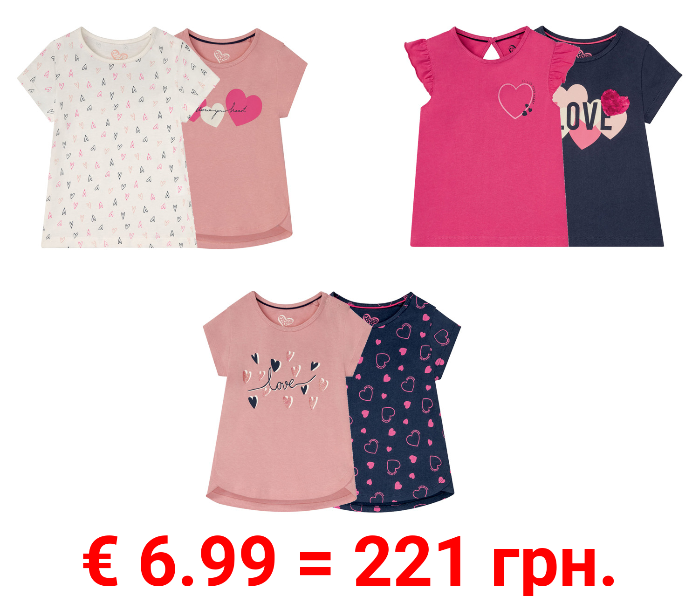 LUPILU® 2 Kleinkinder Mädchen T-Shirts, reine Baumwolle