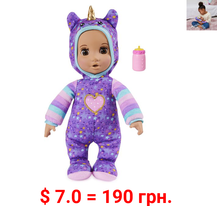Luvzies by Luvabella, Unicorn Onesie 11-inch Cuddly Baby Doll with Bottle Accessory, for Kids Aged 4 and up