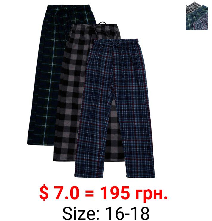 Real Essentials Boys Super-Soft Fleece 3-Pack Pajama Pant Sizes 5-18