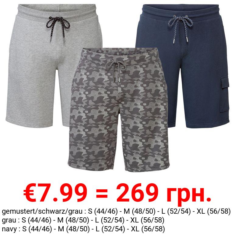 LIVERGY® Sweatbermuda Herren, Gummizugbund und Kordel
