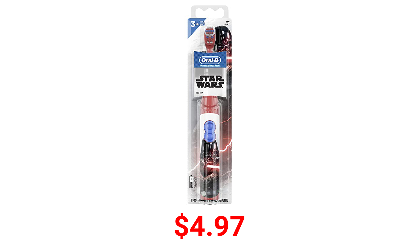 Oral-B Kids Battery Power Electric Toothbrush Featuring Disney's STAR WARS for Children and Toddlers age 3+, Soft (Characters May Vary)