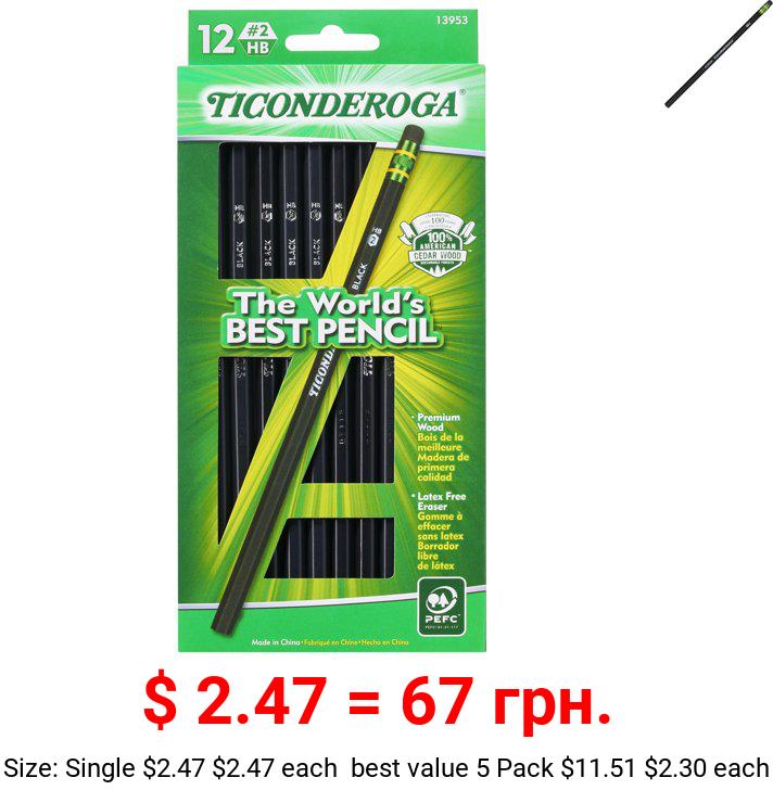 Ticonderoga Number 2 Soft Pencils, Wood-Cased Graphite Black Pencil, 12 Count
