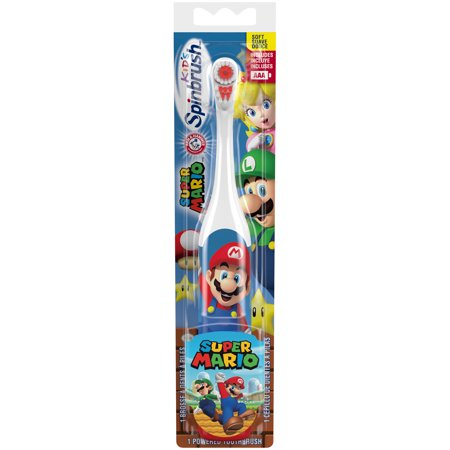 Super Mario Arm & Hammer Kids Spinbrush, Soft, Electric Battery Toothbrush, 1 Count