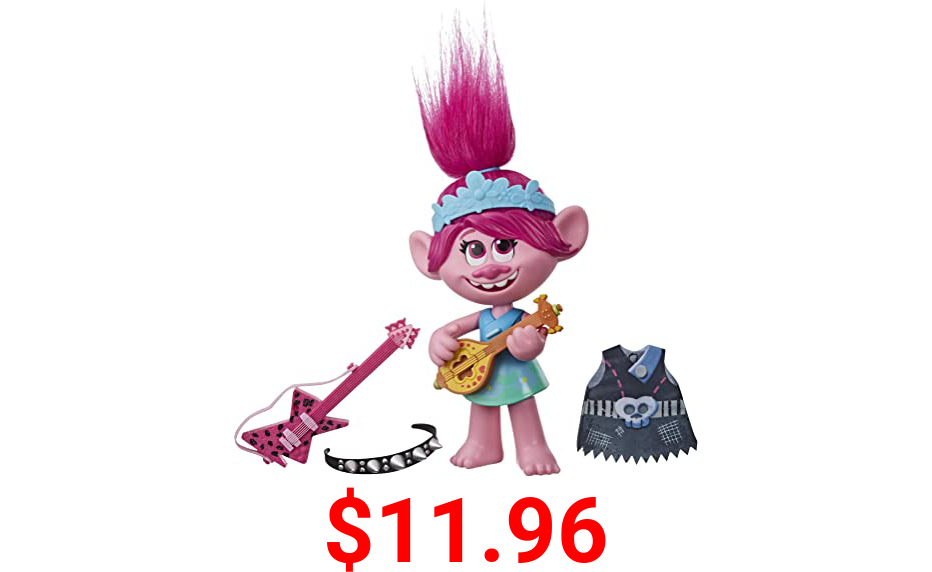 Trolls DreamWorks World Tour Pop-to-Rock Poppy Singing Doll with 2 Different Looks and Sounds, Toy Sings Just Want to Have Fun
