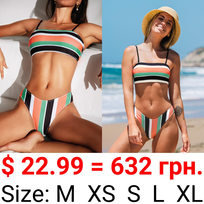Colorful Striped Bandeau High Leg Bikini