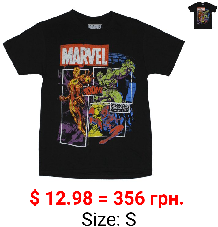 Marvel Comics Mens T-Shirt -  Distressed Stylized Iron Man Hulk & Spidey Boxes (Large, Large)