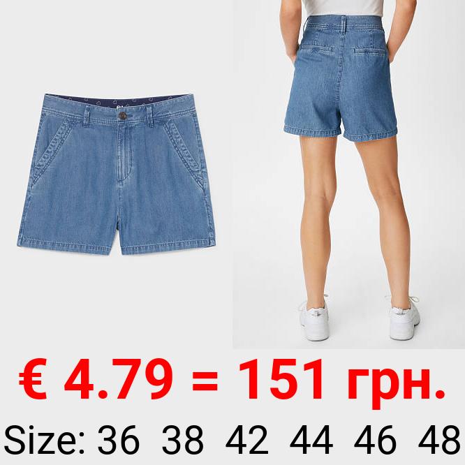 Jeans-Shorts mit Hanffasern