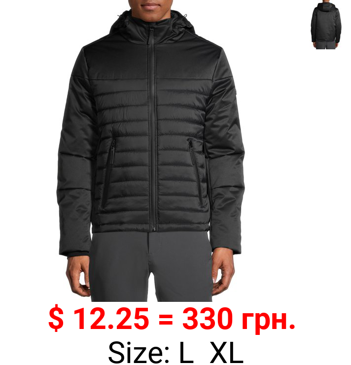 SwissTech Men's Hooded Softshell Quilted Mixed Media Jacket