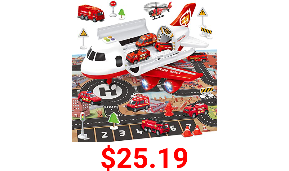 Airplane Toy with Fire Truck Cars and Play Mat,Plane with Lights and Sounds for 3 + Years Old Boys and Girls