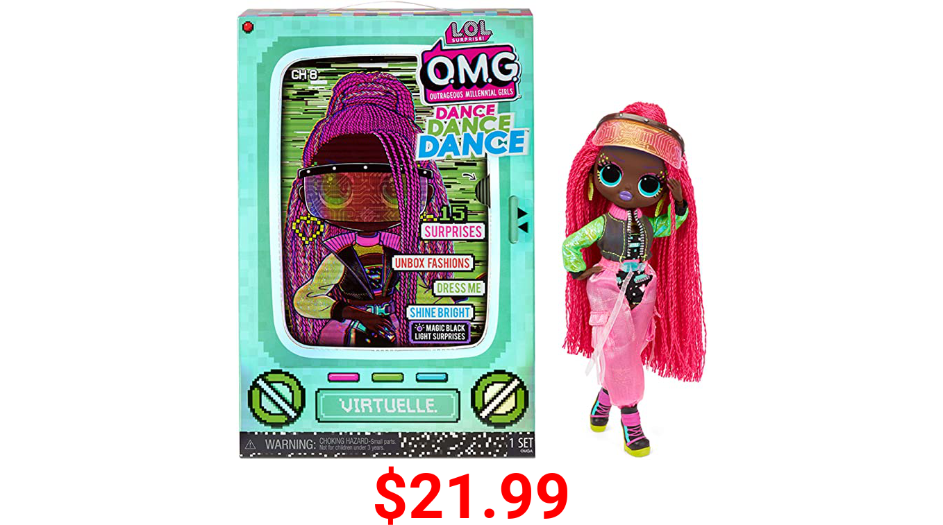 LOL Surprise OMG Dance Dance Dance Virtuelle Fashion Doll with 15 Surprises Including Magic Black Light, Shoes, Hair Brush, Doll Stand and TV Package - Great Gift for Girls Ages 4+ Who Love to Dance