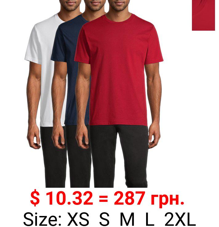 George Men's Short Sleeve Solid Crewneck T-Shirt, 3-Pack