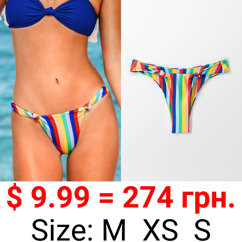 Rainbow Knotted High Leg Bikini Bottom