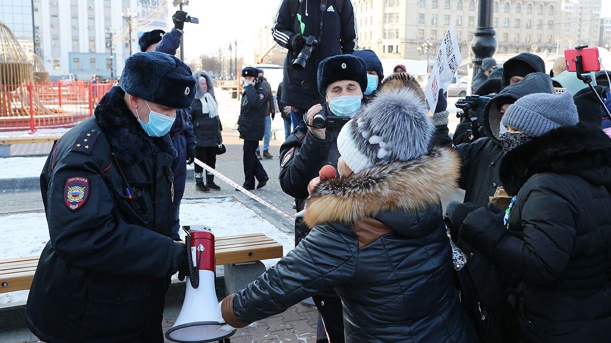 ВХабаровском крае задержали протестующую, её дети остались одни