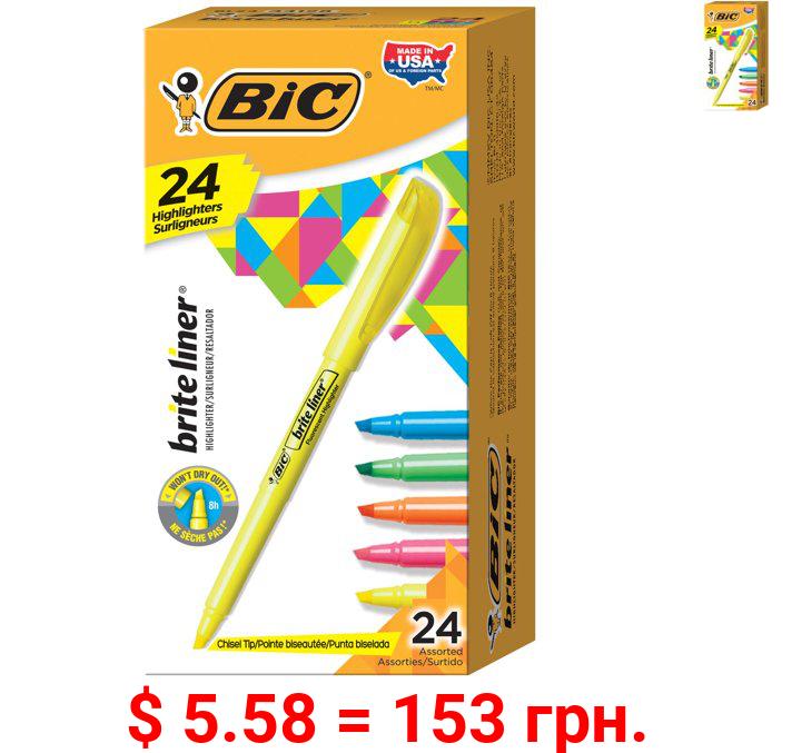 BIC Brite Liner Highlighter, Chisel Tip, Assorted Colors, 24-Count, For Broad Highlighting or Fine Underlining