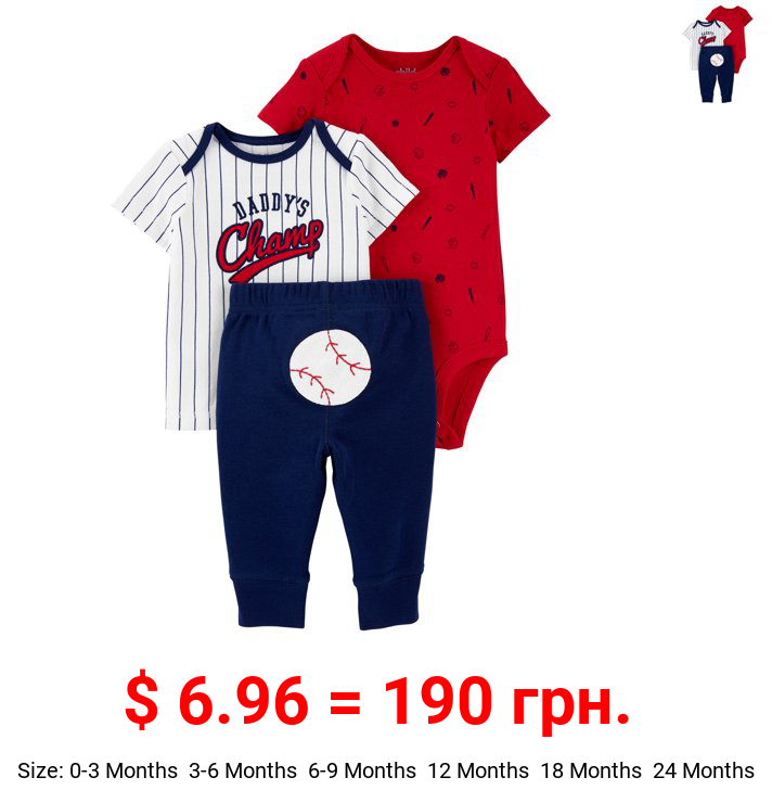 Child of Mine by Carter's Baby Boy Short Sleeve Shirt, Bodysuit and Pant Outfit Set, 3-Piece (0-24 Months)