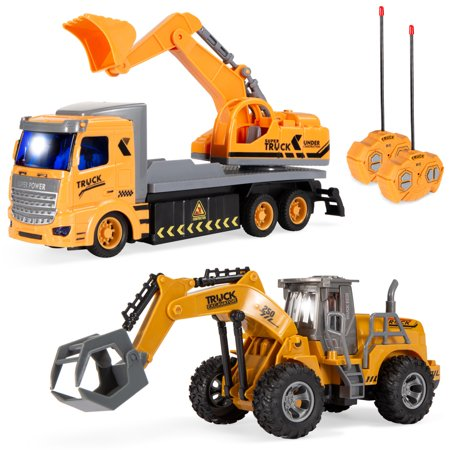 Best Choice Products 2-Pack Remote Control Excavator Digger Truck Construction Toy RC Cars w/ LED Lights, 2 Controllers