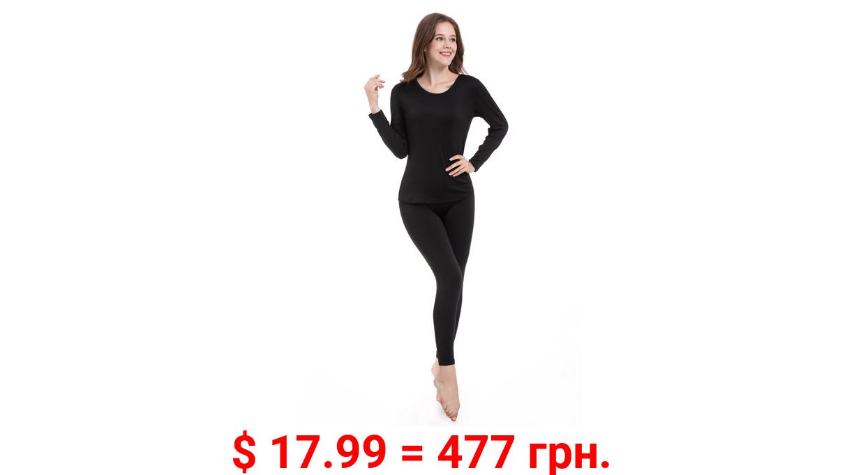 TAW Womens 2-Piece Ultra Soft Thermal Underwear Set Fleece Lined Shirt and Long John