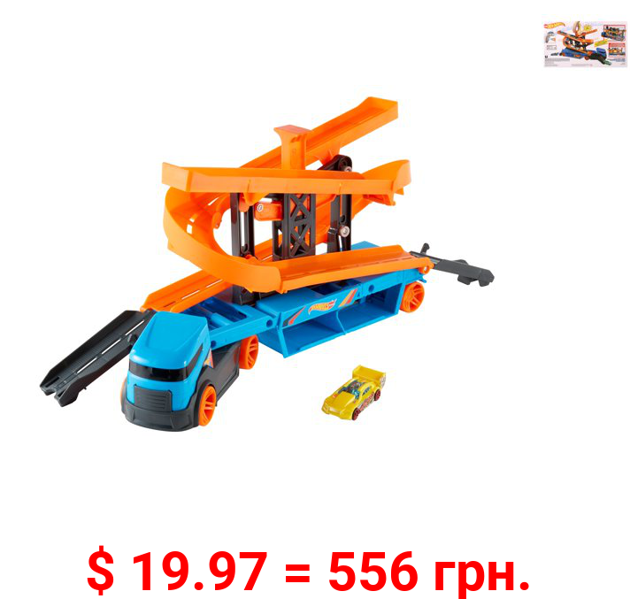 Hot Wheels City Lift & Launch Hauler Vehicle With 1 Hot Wheels Car, For 3 Year Olds and Up