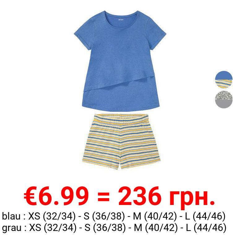 ESMARA® Still-Pyjama Damen, mit Rundhalsausschnitt