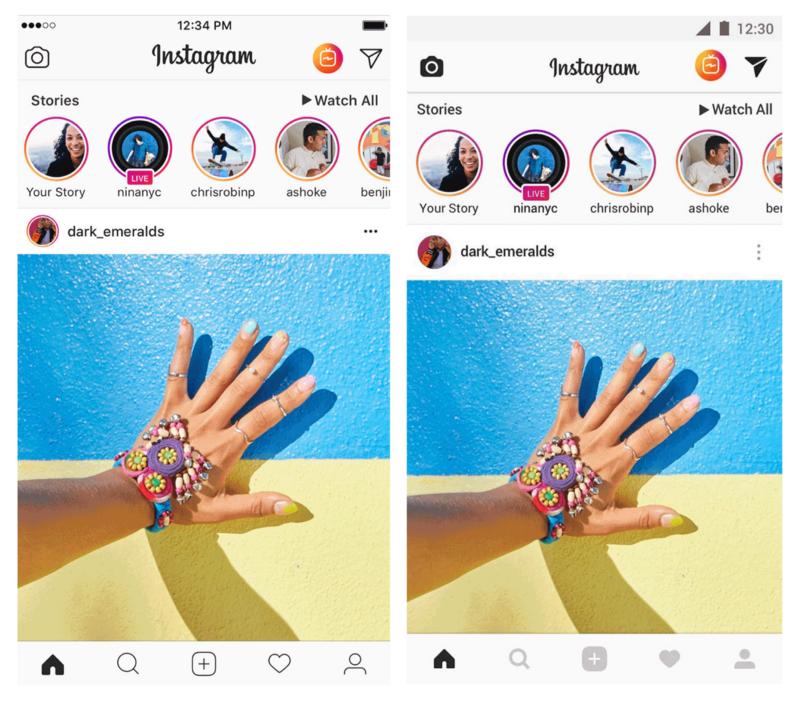 Слева — Instagram для iOS; Справа — Instagram для Android