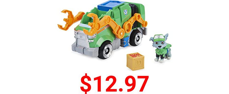 Paw Patrol, Rocky's Deluxe Movie Transforming Toy Car with Collectible Action Figure, Kids Toys for Ages 3 and up