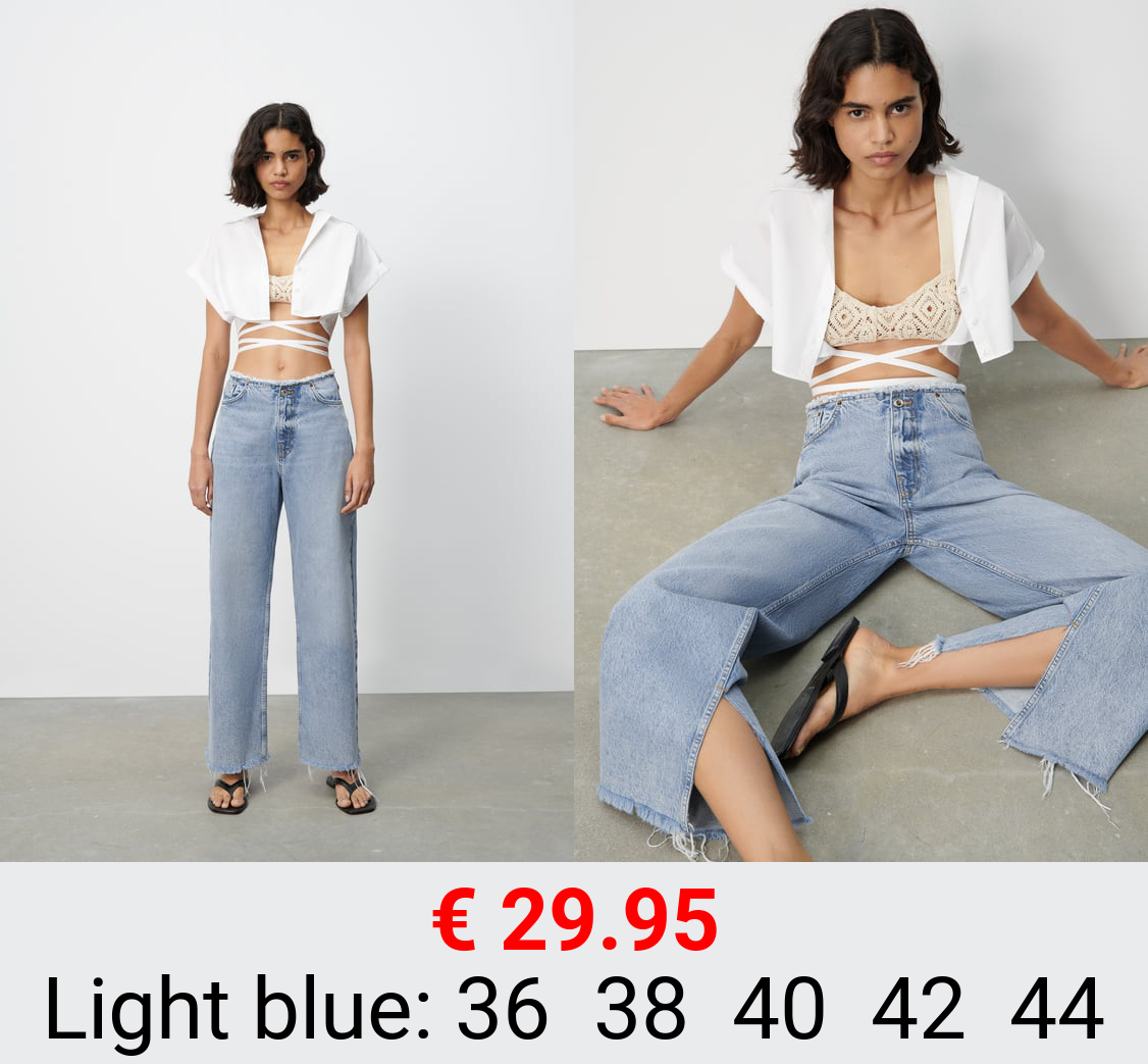 Z1975 WIDE-LEG JEANS WITH FRAYED WAISTBAND